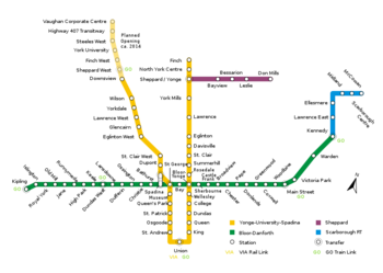 Toronto Subway Map Union Station.Toronto Subway And Rt Transitfanwiki